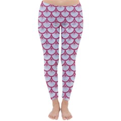 Scales3 White Marble & Pink Denim (r) Classic Winter Leggings