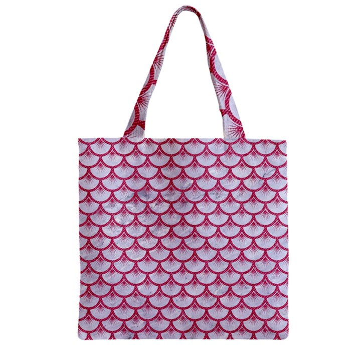 SCALES3 WHITE MARBLE & PINK DENIM (R) Zipper Grocery Tote Bag