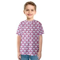 Scales3 White Marble & Pink Denim (r) Kids  Sport Mesh Tee by trendistuff