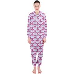 Scales3 White Marble & Pink Denim (r) Hooded Jumpsuit (ladies)