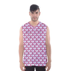 Scales3 White Marble & Pink Denim (r) Men s Basketball Tank Top