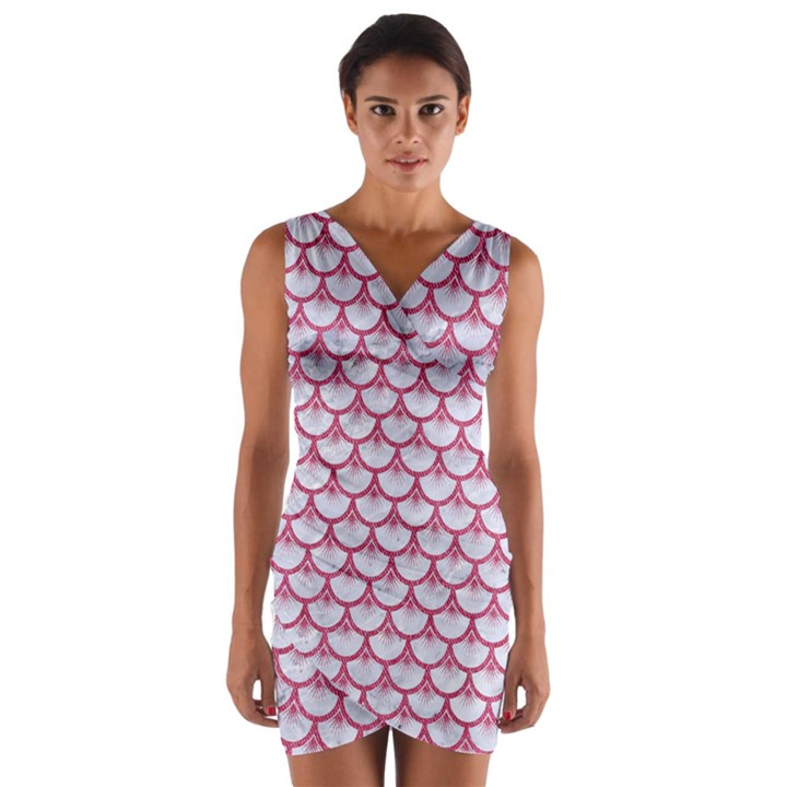 SCALES3 WHITE MARBLE & PINK DENIM (R) Wrap Front Bodycon Dress