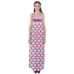 Scales3 White Marble & Pink Denim (r) Empire Waist Maxi Dress