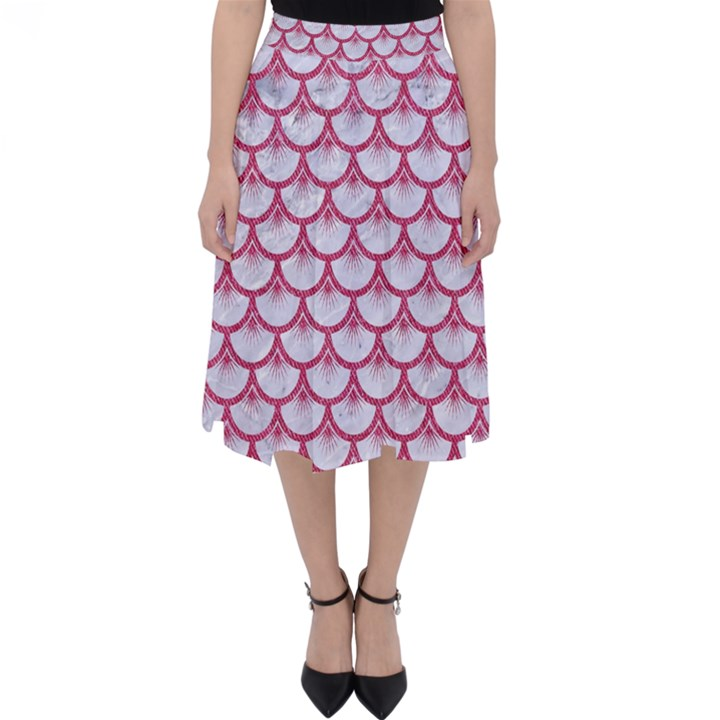 SCALES3 WHITE MARBLE & PINK DENIM (R) Folding Skater Skirt