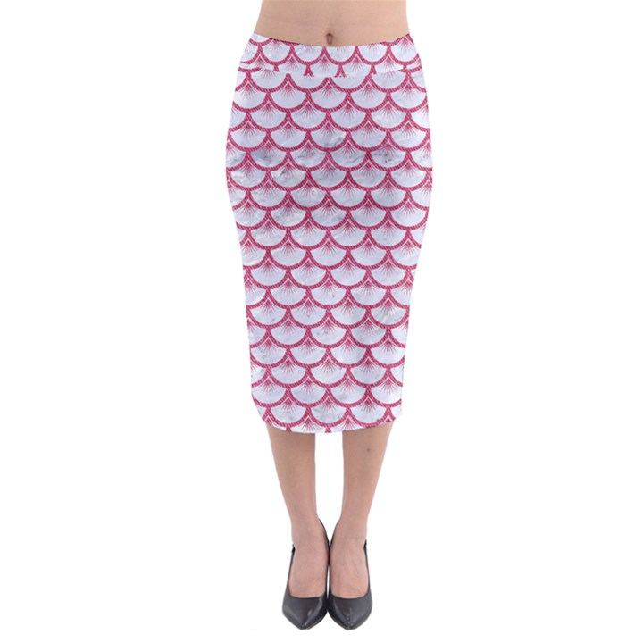 SCALES3 WHITE MARBLE & PINK DENIM (R) Midi Pencil Skirt