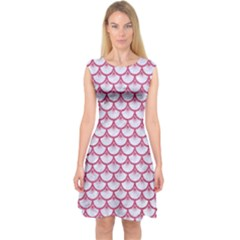 Scales3 White Marble & Pink Denim (r) Capsleeve Midi Dress