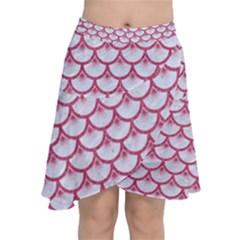 Scales3 White Marble & Pink Denim (r) Chiffon Wrap