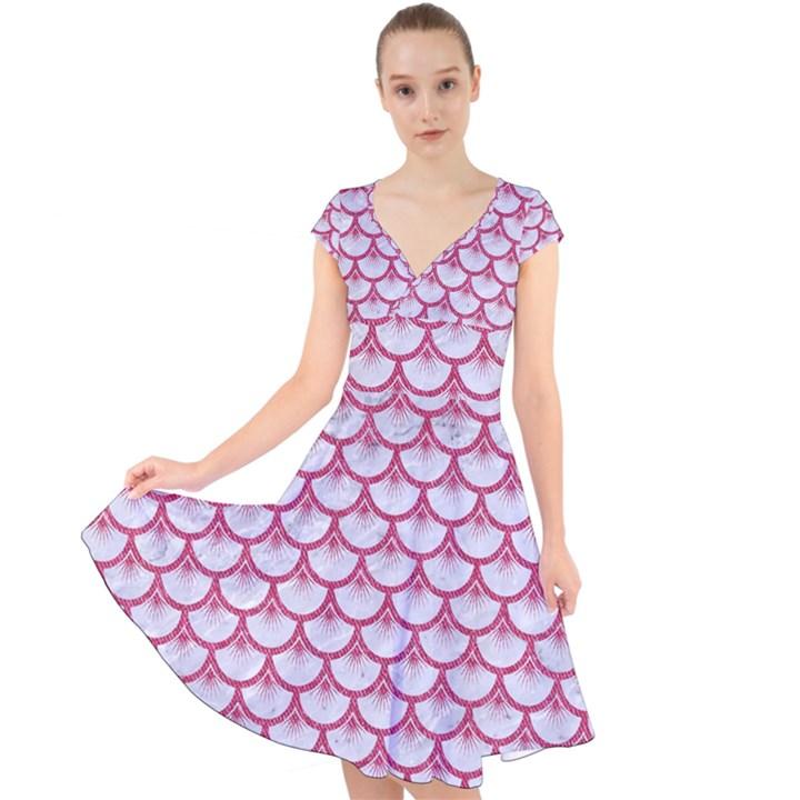 SCALES3 WHITE MARBLE & PINK DENIM (R) Cap Sleeve Front Wrap Midi Dress