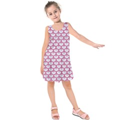 Scales3 White Marble & Pink Denim (r) Kids  Sleeveless Dress