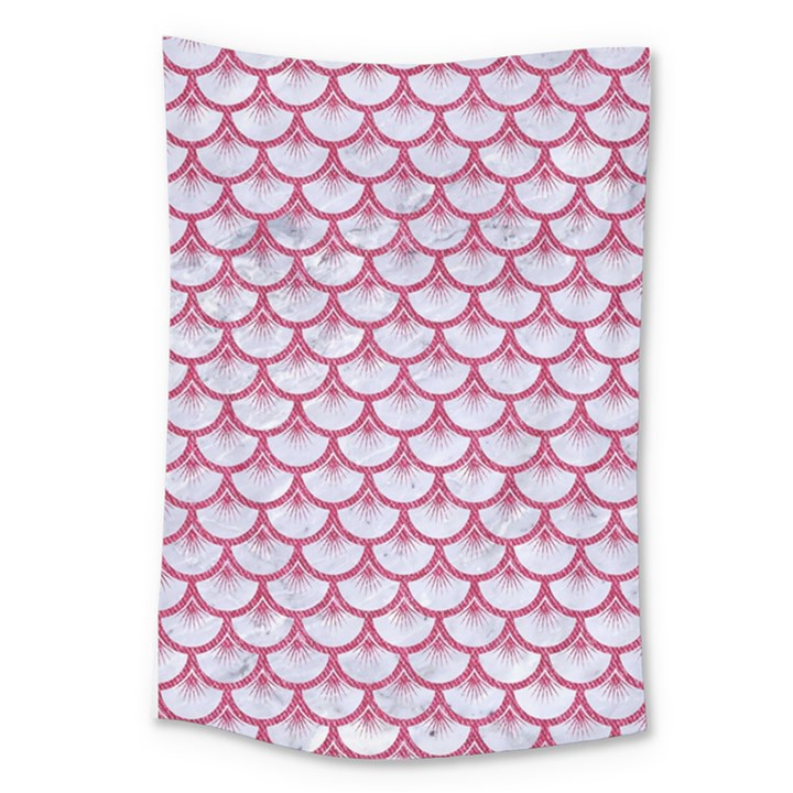 SCALES3 WHITE MARBLE & PINK DENIM (R) Large Tapestry