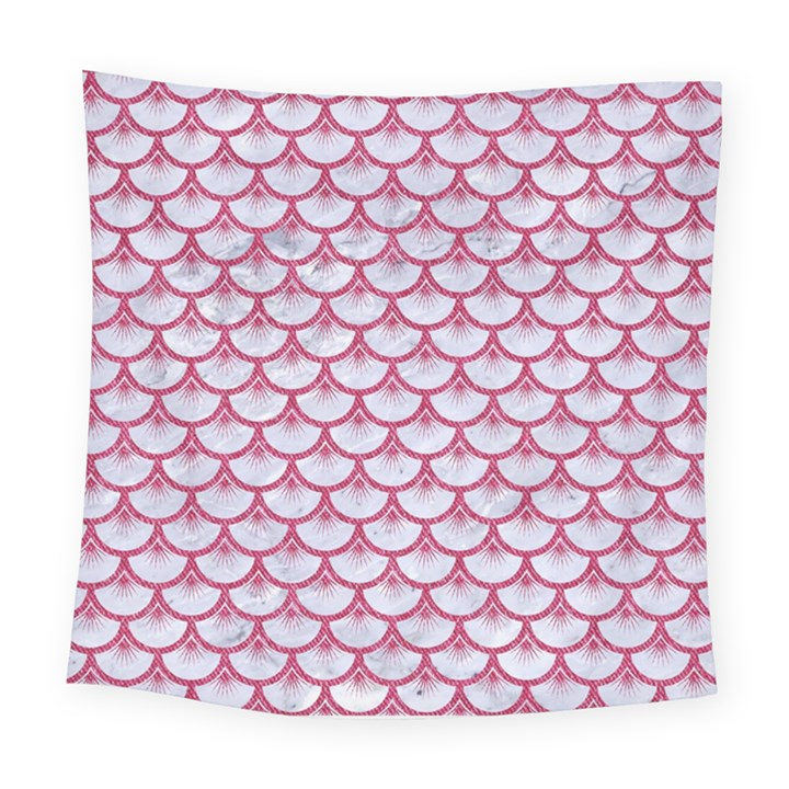 SCALES3 WHITE MARBLE & PINK DENIM (R) Square Tapestry (Large)