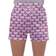 Scales3 White Marble & Pink Denim (r) Sleepwear Shorts by trendistuff