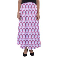 Scales3 White Marble & Pink Denim (r) Flared Maxi Skirt