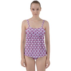 Scales3 White Marble & Pink Denim (r) Twist Front Tankini Set