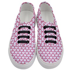Scales3 White Marble & Pink Denim (r) Women s Classic Low Top Sneakers