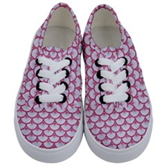 Scales3 White Marble & Pink Denim (r) Kids  Classic Low Top Sneakers