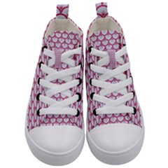 Scales3 White Marble & Pink Denim (r) Kid s Mid Top Canvas Sneakers