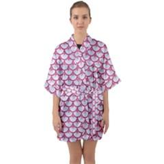 Scales3 White Marble & Pink Denim (r) Quarter Sleeve Kimono Robe