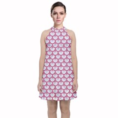 Scales3 White Marble & Pink Denim (r) Velvet Halter Neckline Dress