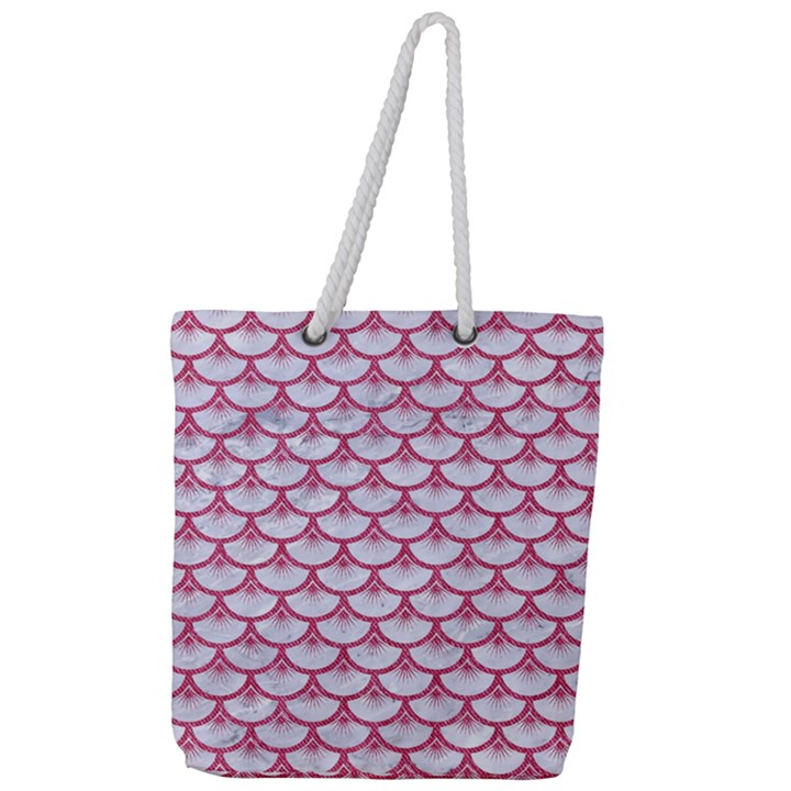 SCALES3 WHITE MARBLE & PINK DENIM (R) Full Print Rope Handle Tote (Large)