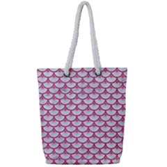 Scales3 White Marble & Pink Denim (r) Full Print Rope Handle Tote (small)