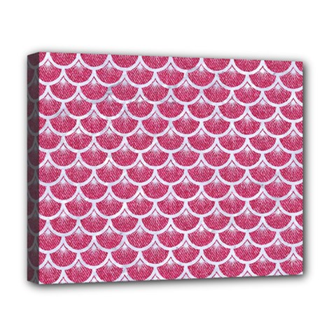 Scales3 White Marble & Pink Denim Deluxe Canvas 20  X 16   by trendistuff