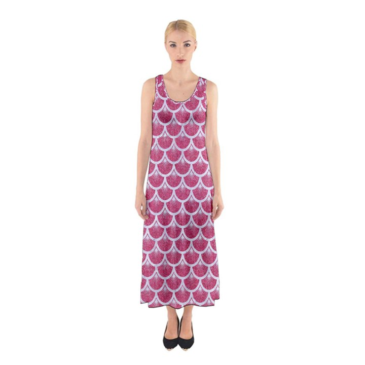 SCALES3 WHITE MARBLE & PINK DENIM Sleeveless Maxi Dress