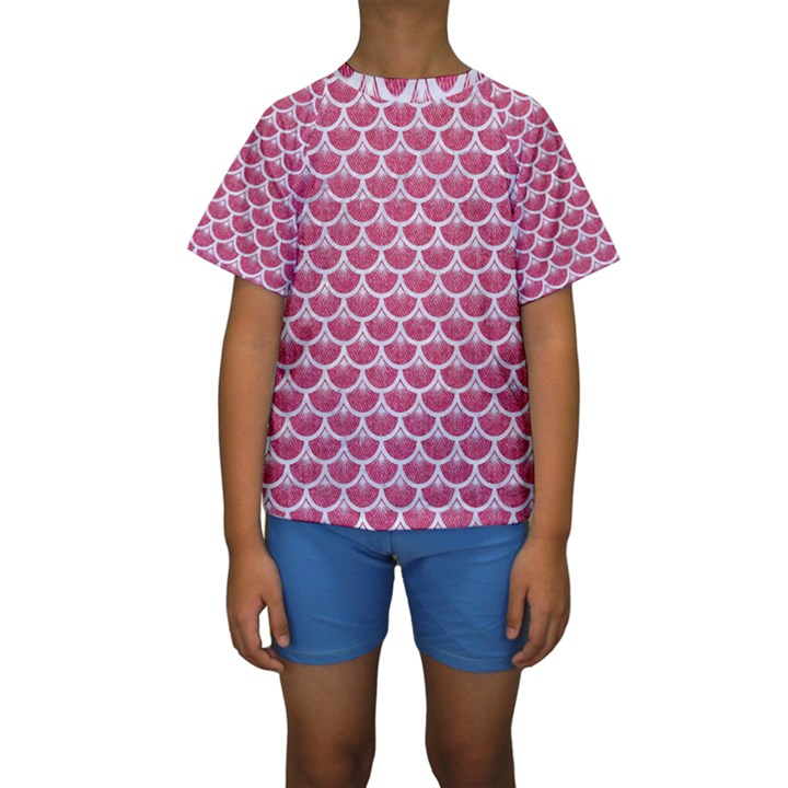 SCALES3 WHITE MARBLE & PINK DENIM Kids  Short Sleeve Swimwear
