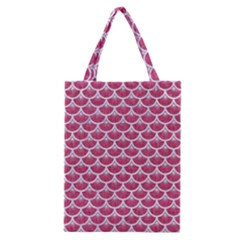 Scales3 White Marble & Pink Denim Classic Tote Bag