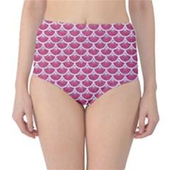 Scales3 White Marble & Pink Denim Classic High Waist Bikini Bottoms