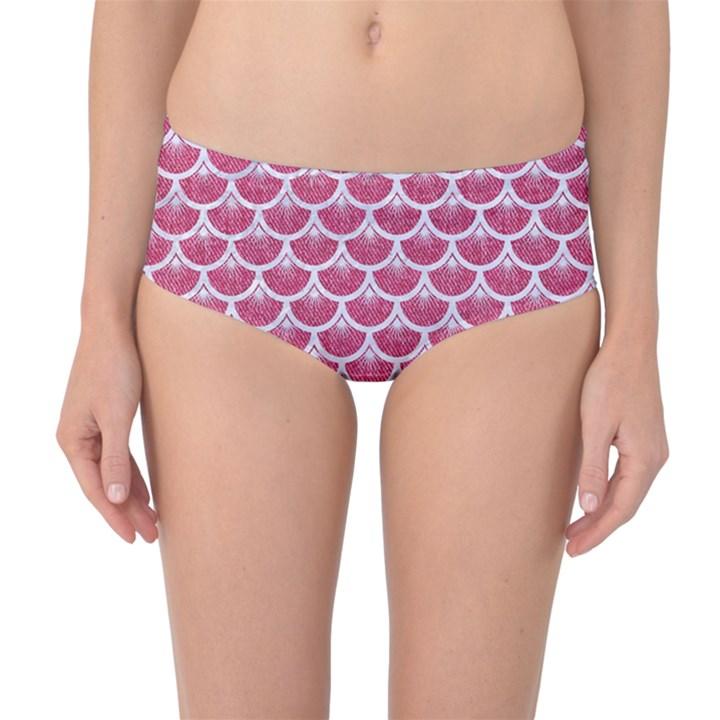 SCALES3 WHITE MARBLE & PINK DENIM Mid-Waist Bikini Bottoms