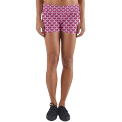 Scales3 White Marble & Pink Denim Yoga Shorts