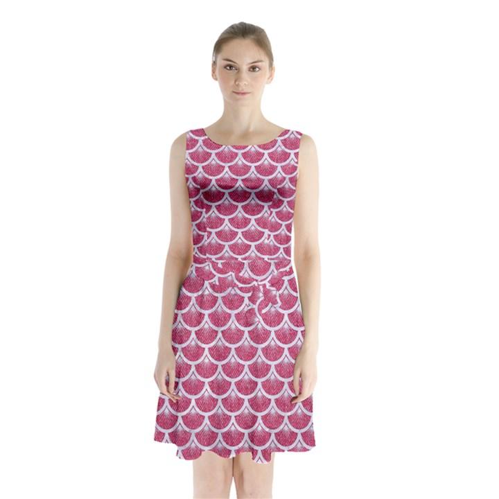 SCALES3 WHITE MARBLE & PINK DENIM Sleeveless Waist Tie Chiffon Dress