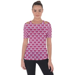 Scales3 White Marble & Pink Denim Short Sleeve Top