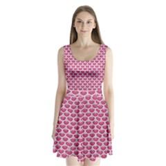 Scales3 White Marble & Pink Denim Split Back Mini Dress