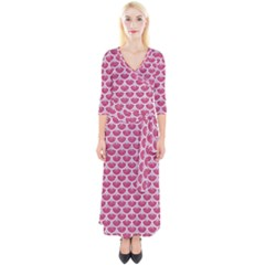 Scales3 White Marble & Pink Denim Quarter Sleeve Wrap Maxi Dress