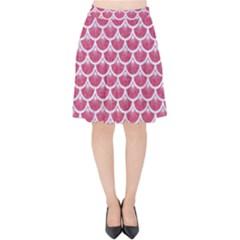 Scales3 White Marble & Pink Denim Velvet High Waist Skirt
