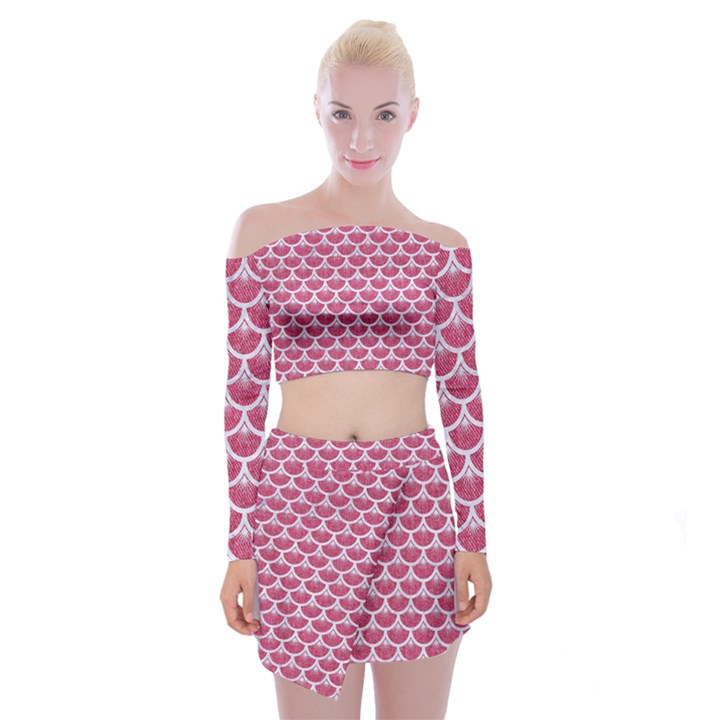 SCALES3 WHITE MARBLE & PINK DENIM Off Shoulder Top with Mini Skirt Set