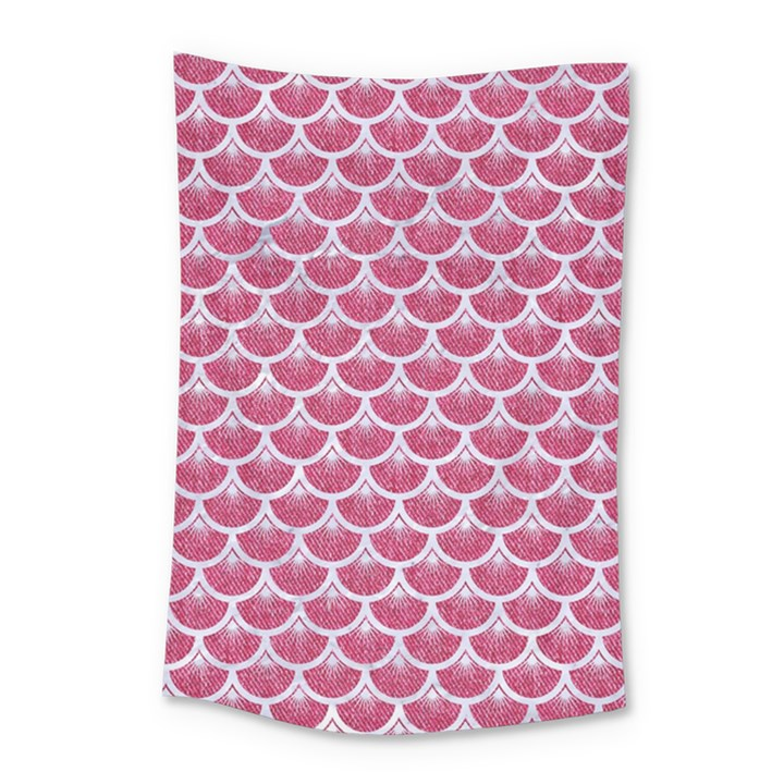 SCALES3 WHITE MARBLE & PINK DENIM Small Tapestry