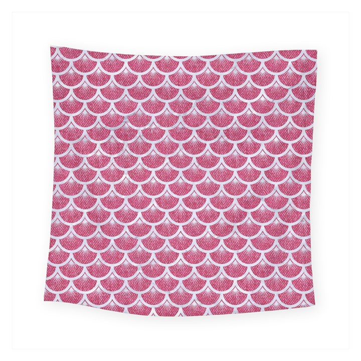 SCALES3 WHITE MARBLE & PINK DENIM Square Tapestry (Small)