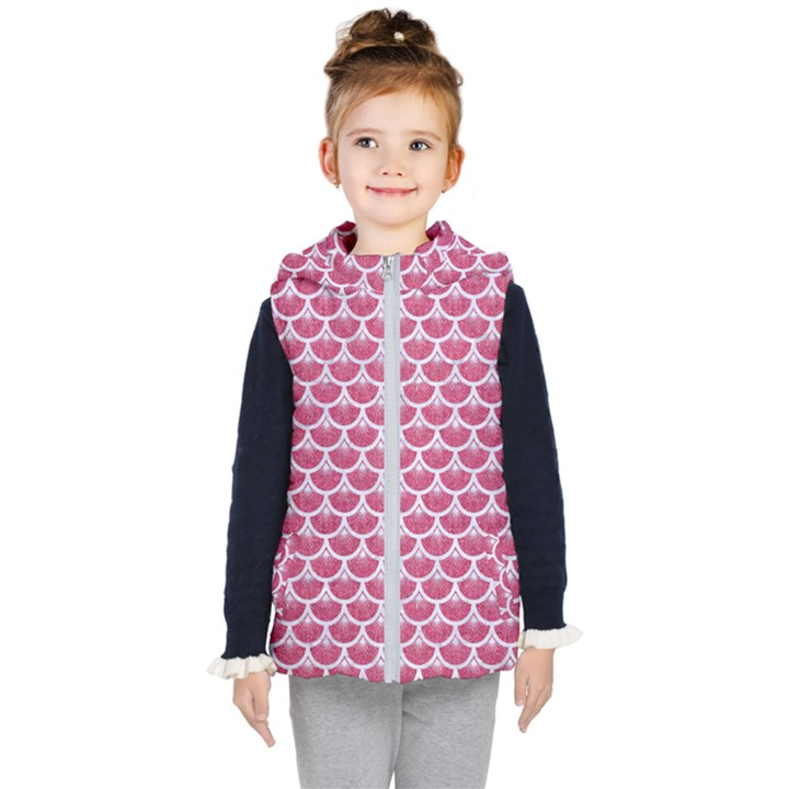 SCALES3 WHITE MARBLE & PINK DENIM Kid s Hooded Puffer Vest