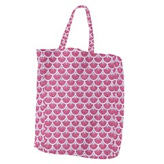 Scales3 White Marble & Pink Denim Giant Grocery Zipper Tote by trendistuff