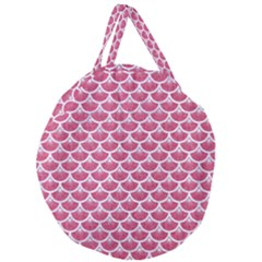 Scales3 White Marble & Pink Denim Giant Round Zipper Tote