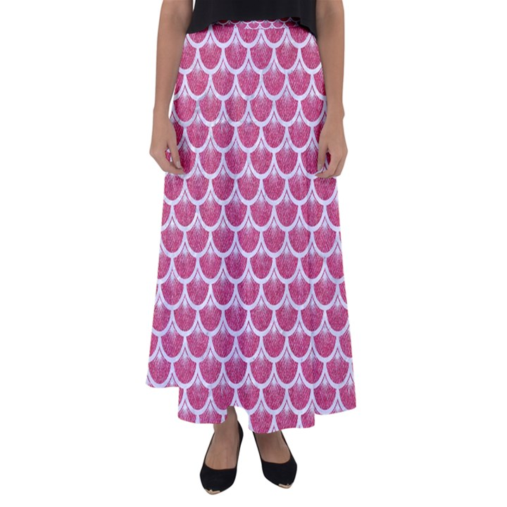 SCALES3 WHITE MARBLE & PINK DENIM Flared Maxi Skirt