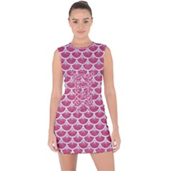 Scales3 White Marble & Pink Denim Lace Up Front Bodycon Dress