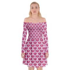Scales3 White Marble & Pink Denim Off Shoulder Skater Dress