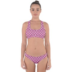 Scales3 White Marble & Pink Denim Cross Back Hipster Bikini Set