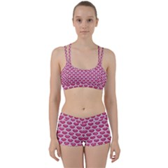 Scales3 White Marble & Pink Denim Women s Sports Set