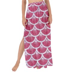 Scales3 White Marble & Pink Denim Maxi Chiffon Tie Up Sarong