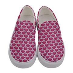 Scales3 White Marble & Pink Denim Women s Canvas Slip Ons